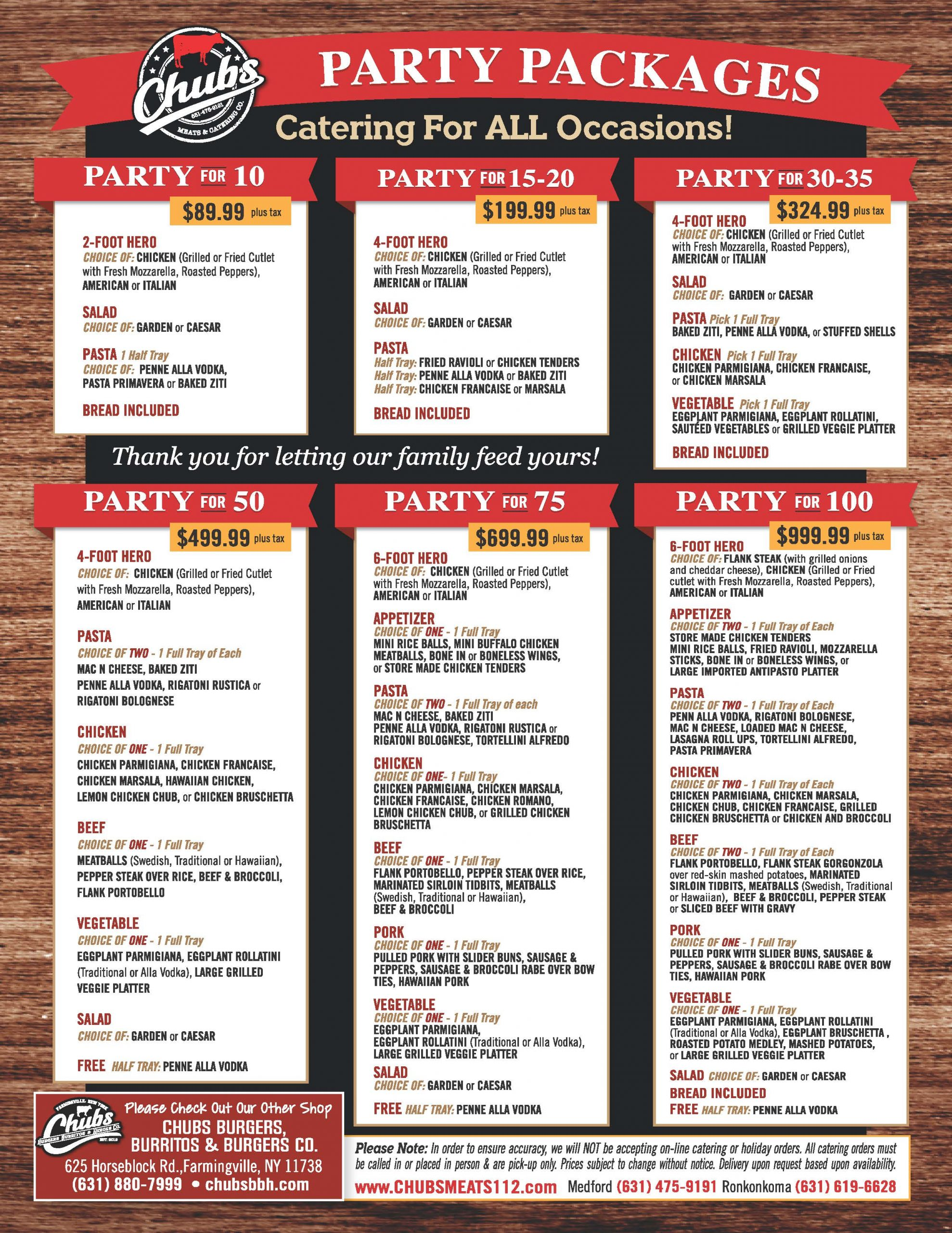 Chubs Party Packages